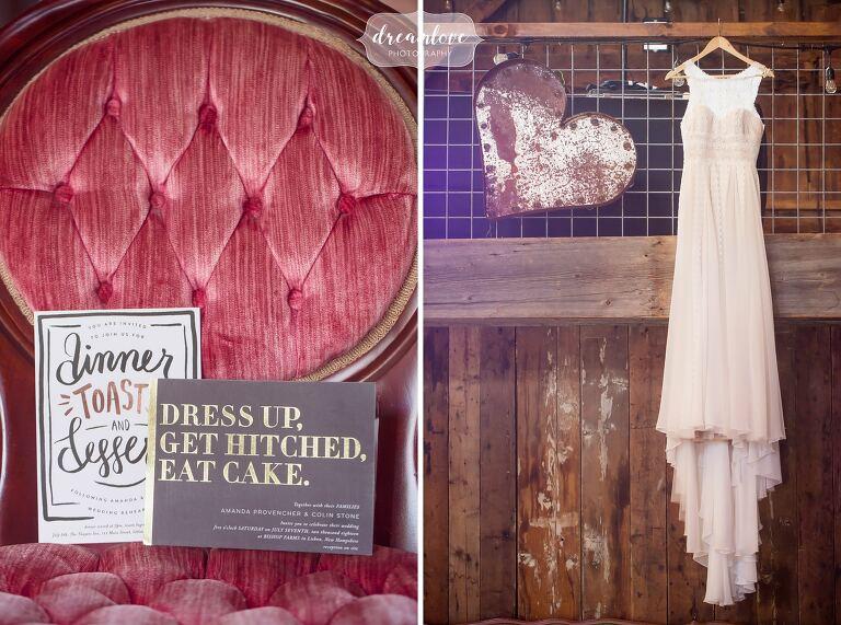 Bishop Farm wedding with shabby chic decor in the barn.