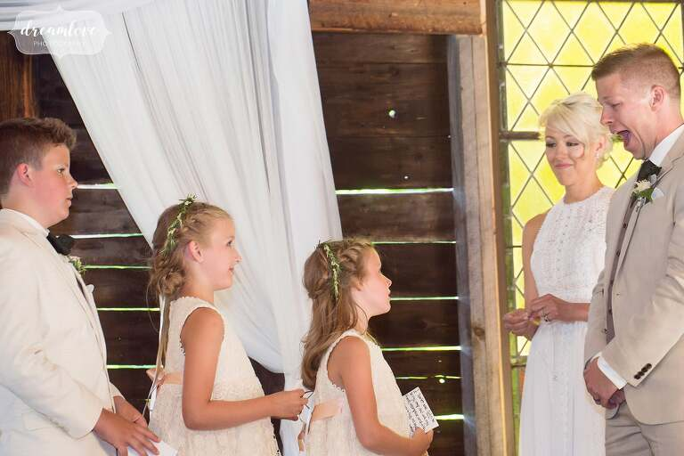 The children of the bride were included in this barn wedding ceremony.
