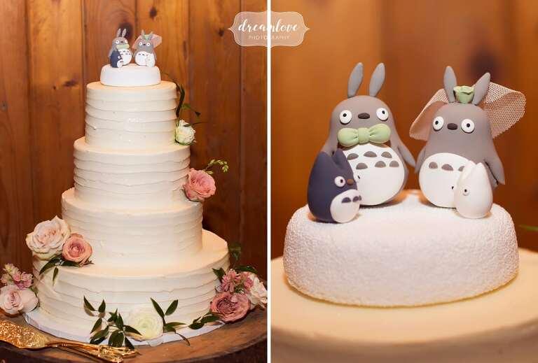 Totoro cake topper at Hudson Valley wedding.