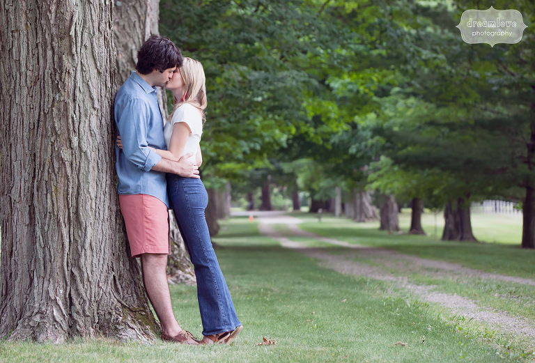 1970's style engagement photo shoot with high waist jeans in Hyde Park, NY.