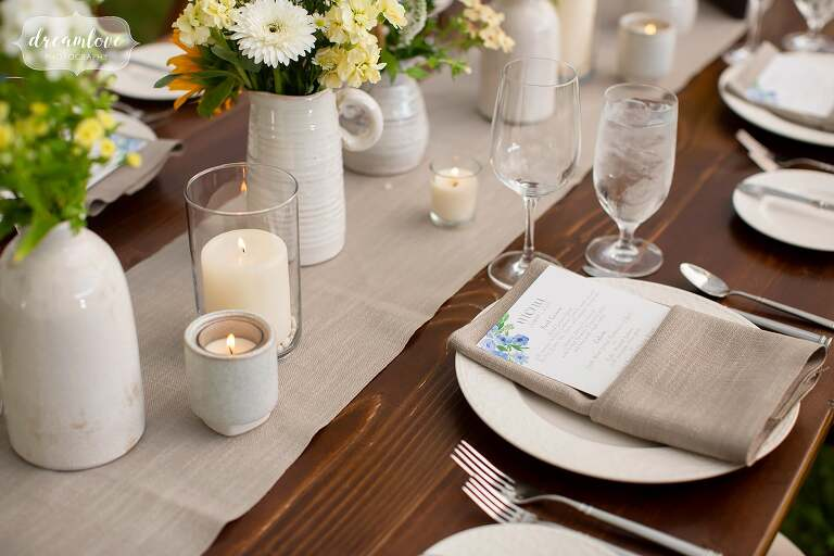 Rustic country wedding tablescapes in Stowe, VT.