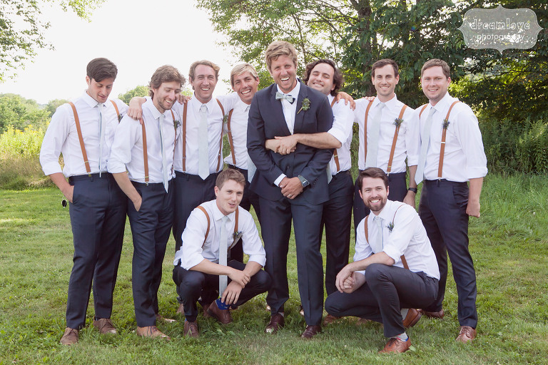 Funny photo of the groom with his 9 groomsmen at the 1824 House in VT.