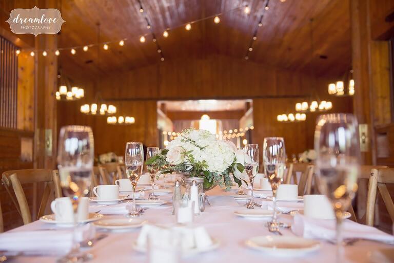 Organic and natural table decor at Hudson Valley barn wedding.