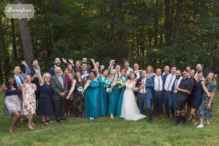 Intimate wedding ceremony with all of the guests.