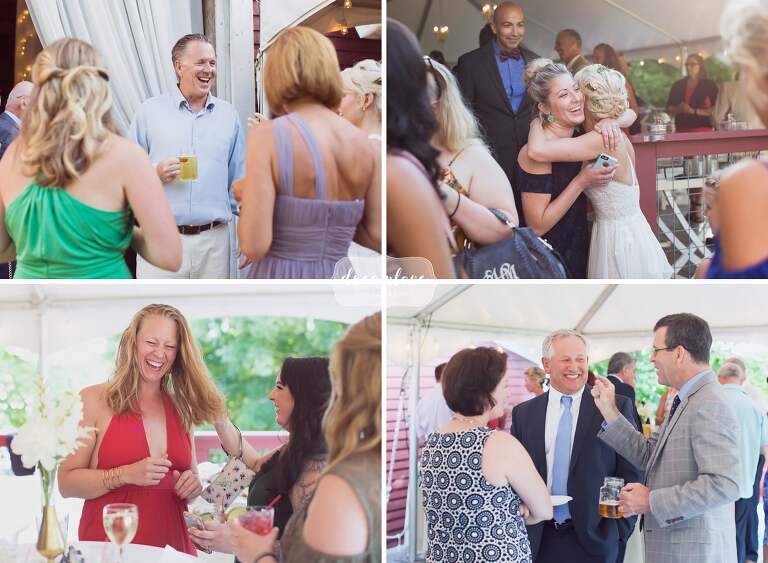 Candid moments of guests laughing at Bishop Farm wedding.