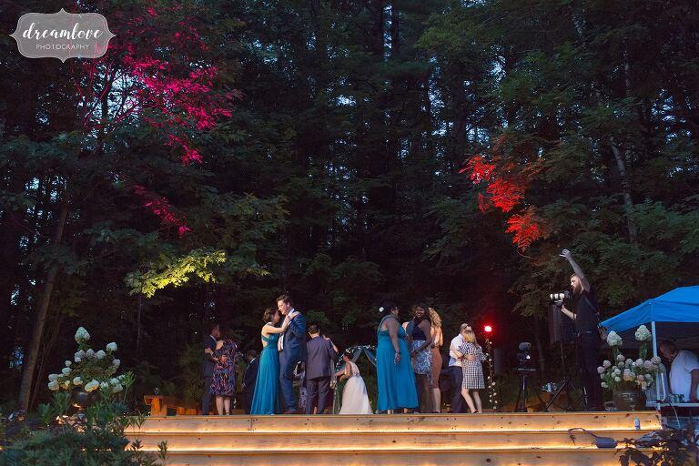 Backyard wedding dance patio in NH.