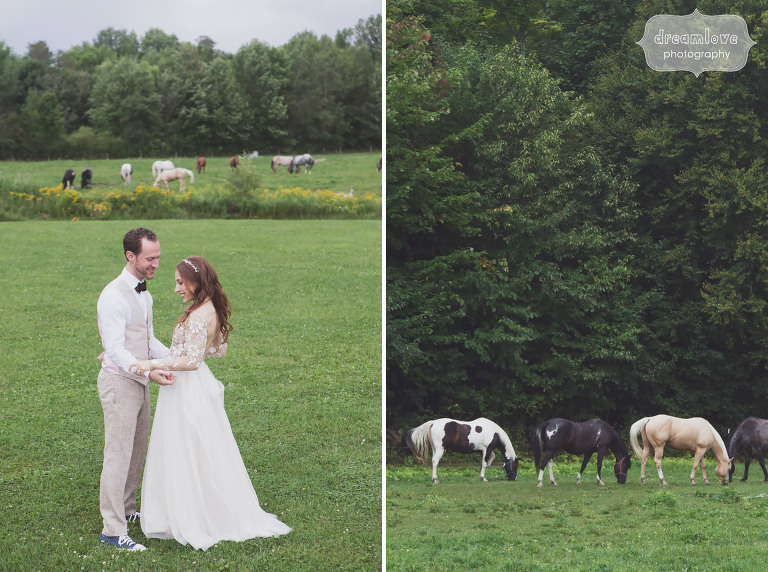 Bride and groom with the horses at the Topnotch Resort in Stowe, VT.