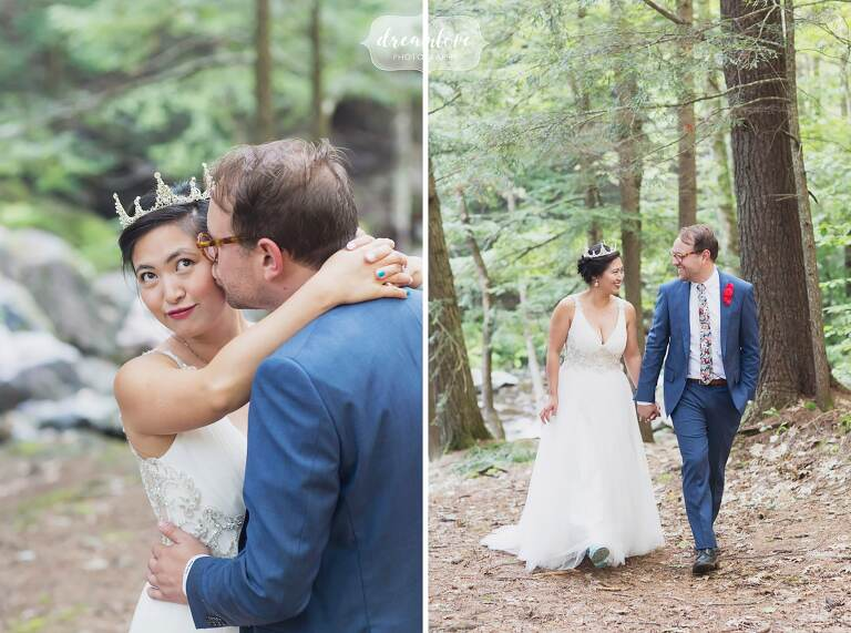 Bride and groom at their woodland wedding in Hanover, NH.