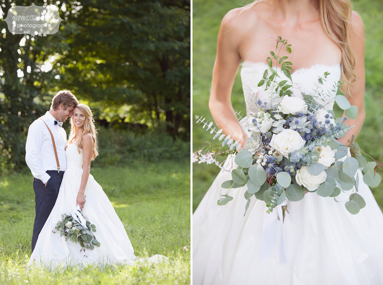 Candid style photos of the bride and groom in the green field at the 1824 House venue in VT.
