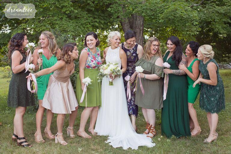 The bridesmaids in green at Bishop Farm wedding.