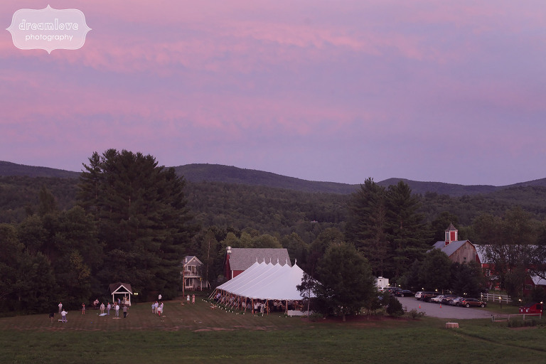 Sunset over the sailcloth reception tent at the 1824 House in VT.