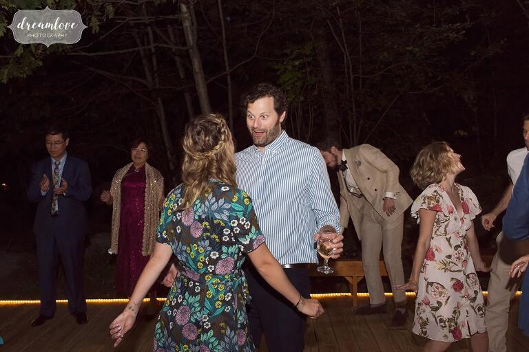 Wedding guests dance in Hanover, NH.