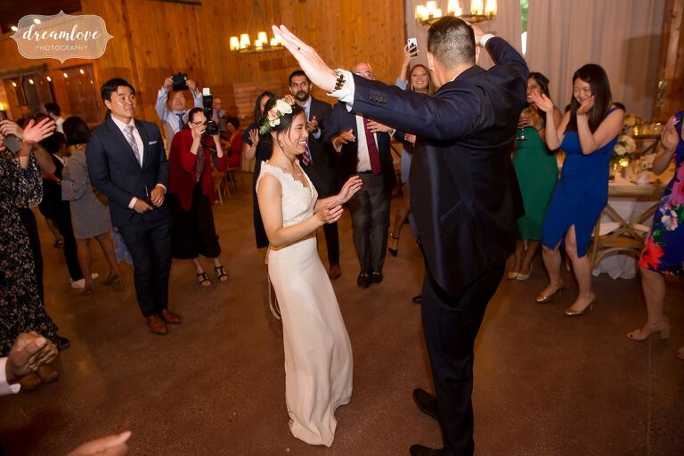 Funny dance at asian wedding in Hudson Valley.