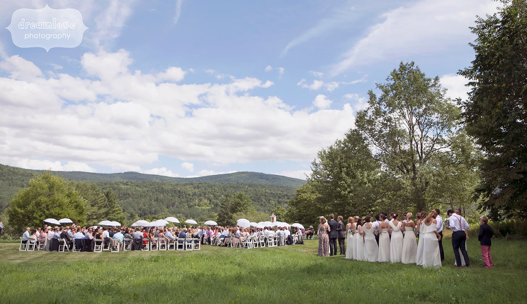 View of the outdoor ceremony site at the 1824 House in Waitsfield, VT.