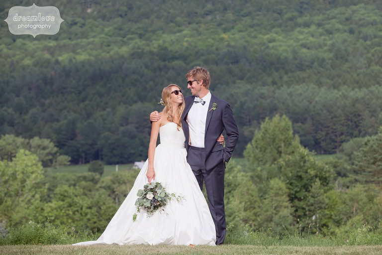 Funny photo of the bride and groom wearing sunglasses at the 1824 House in VT.