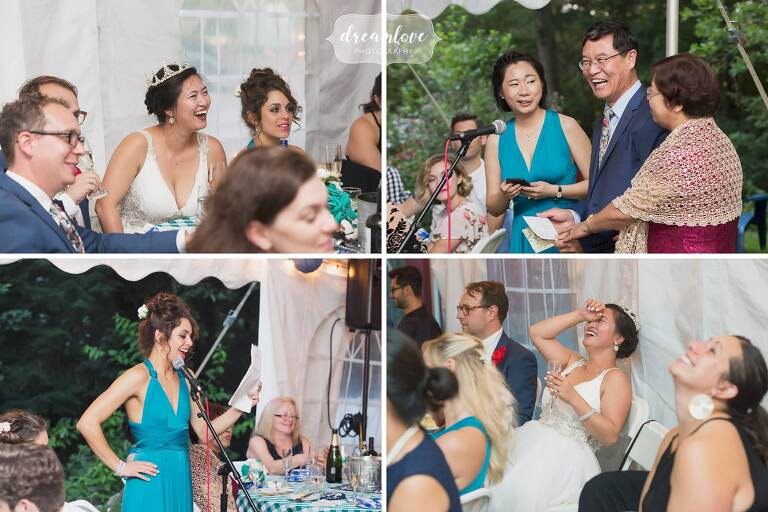 Funny wedding toasts at small backyard wedding.