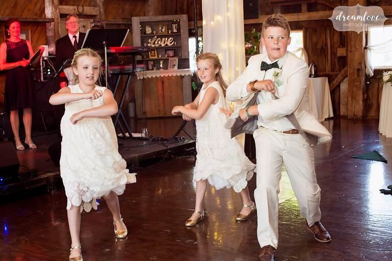 Kids perform a choreographed dance at Bishop Farm wedding venue.