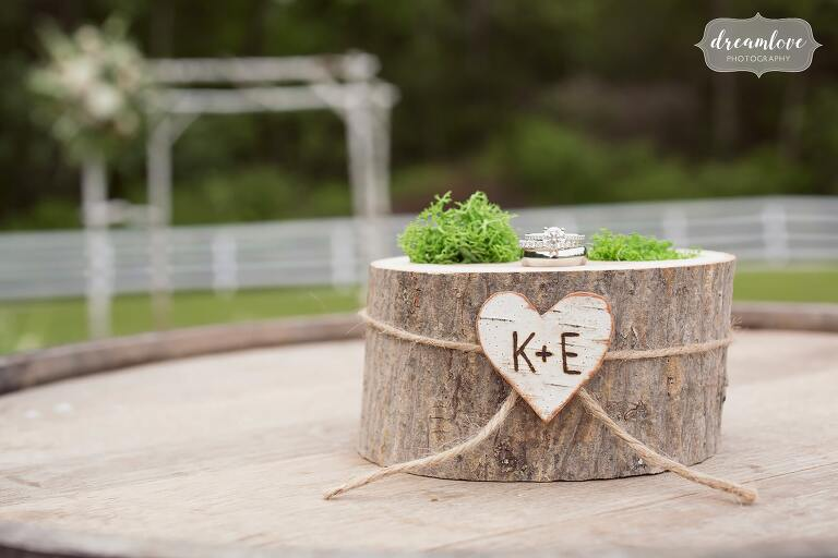 Rustic ring box for Hudson Valley wedding.