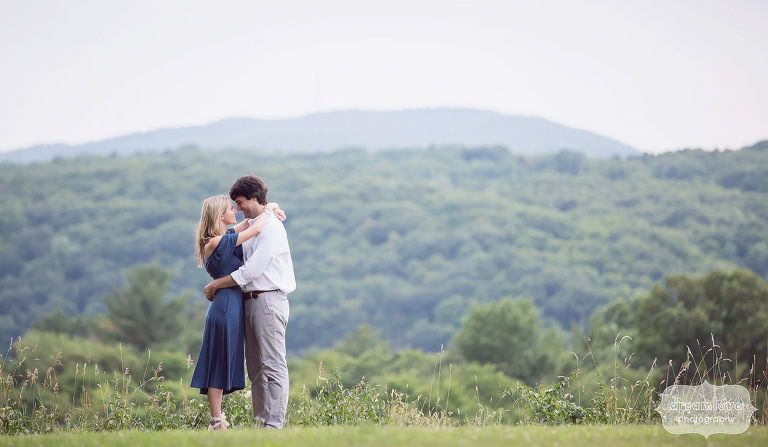Scenic landscape engagement photo of the couple in Hudson Valley, NY.
