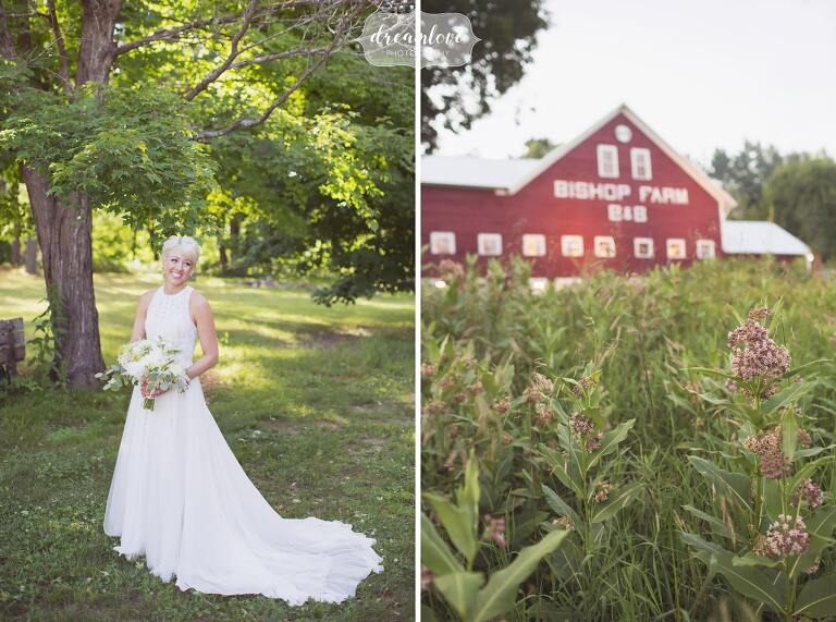 Boho bride in a Pronovias embroidered wedding dress at Bishop Farm barn in NH.