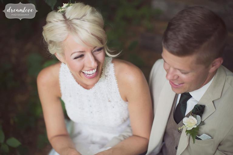 Super happy bride with platinum hair at this Bishop Farm rustic wedding.