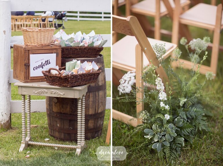 Paper cones with flower petals at Hudson Valley wedding.