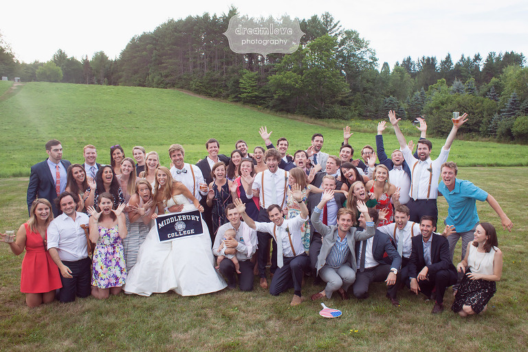 Middlebury college with banner group photo at the 1824 House in VT.