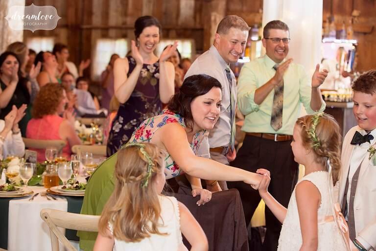 Bishop Farm barn wedding reception.