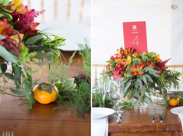 Rustic style chinese wedding decor at this Roxbury wedding in NY.