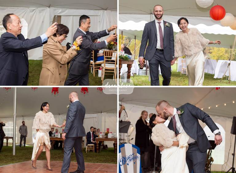 Funny photos of the guests taking pictures of bride and groom in upstate NY wedding.