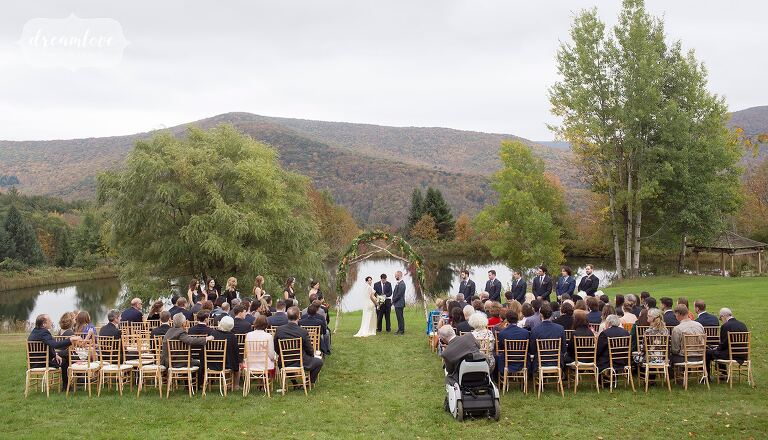 Beautiful outdoor ceremony space for this early October wedding in the Catskills.
