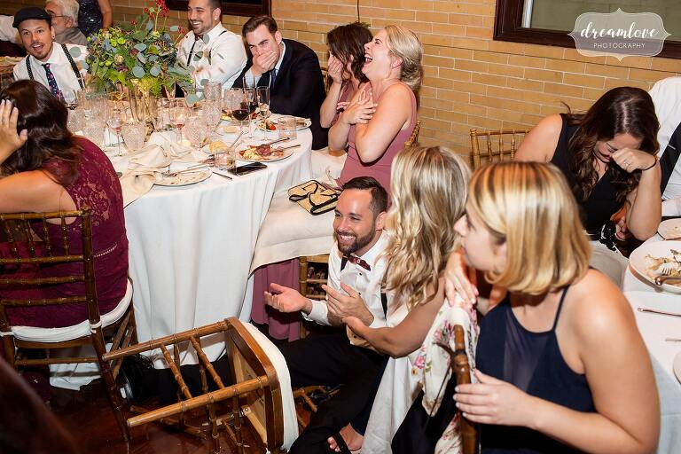 A wedding guest fell on the floor when his chair broke at this Linden Place wedding.