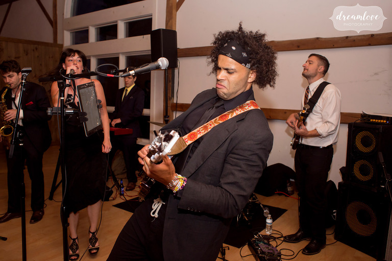 A wedding band performs at the Inn on Main reception in Wolfeboro.