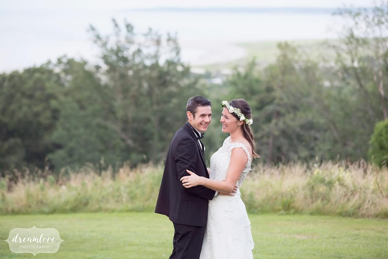 Happy wedding photography of this bride and groom at the Crane Estate in MA.