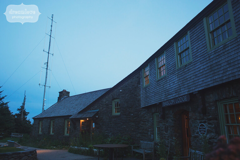 Bascom Lodge wedding venue in the twilight blue light.