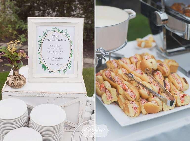 Mini lobster rolls at this Bristol, RI wedding.