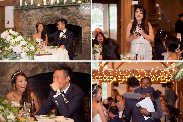 Wedding speeches have the bride and groom tearing up at the Inn on Main reception in Wolfeboro.