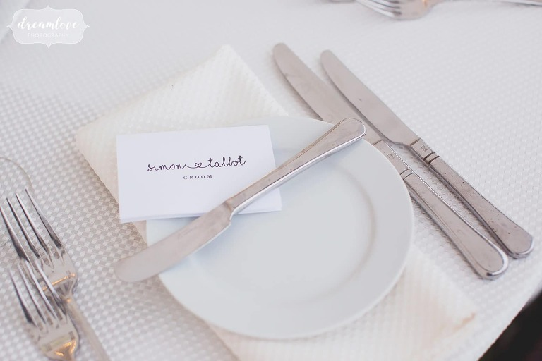 Ethereal escort cards with simple stamp at the Crane Estate.