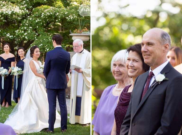Bride and groom say vows at Canton, MA garden ceremony.