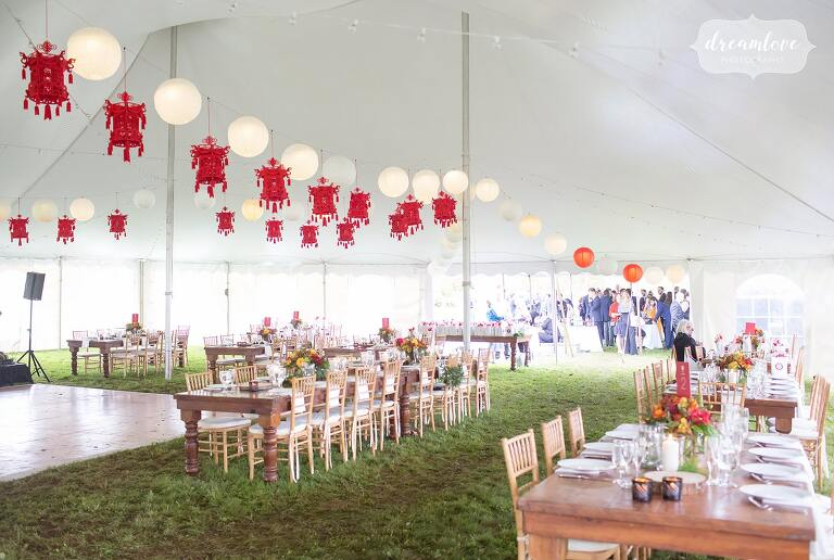 Asian american wedding decor for this tented reception in the Catskills.