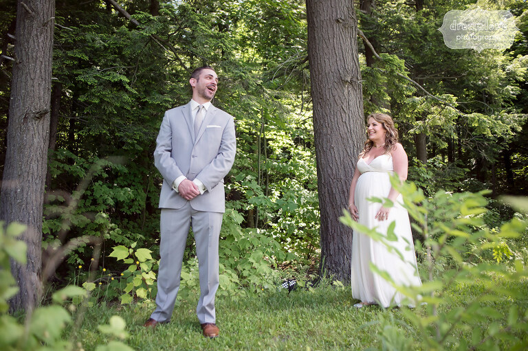 Documentary wedding photography of first look at Sugarbush, VT.