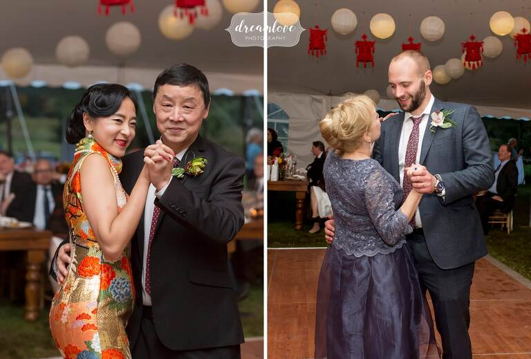 Parents dance with bride and groom at October Catskills wedding.
