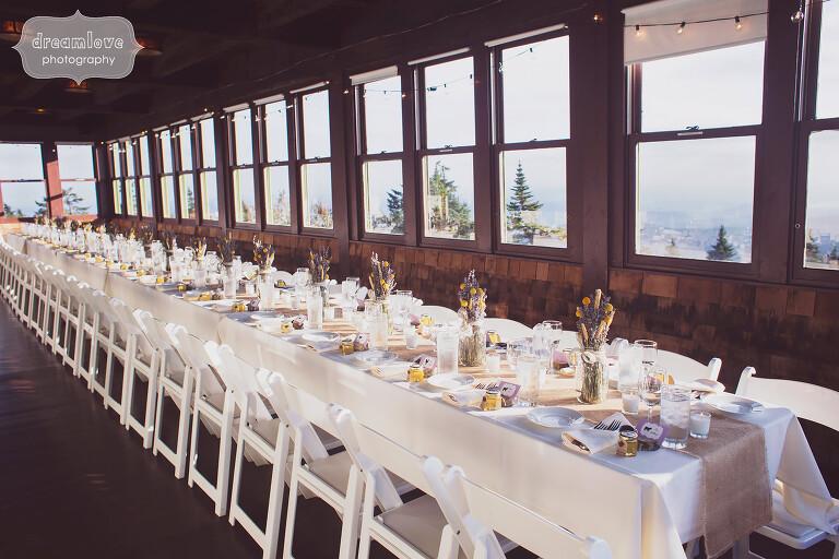 Wedding reception family style tables set up at Bascom Lodge.
