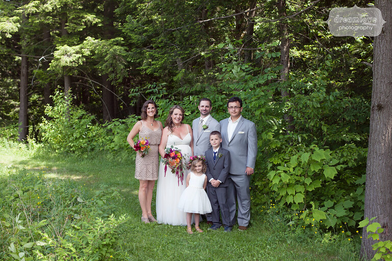 Portrait of a small wedding party at the Sugarbush Resort in VT.