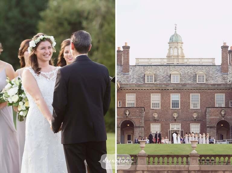 Elegant Crane Estate wedding ceremony on the lawn in Ipswich, MA.