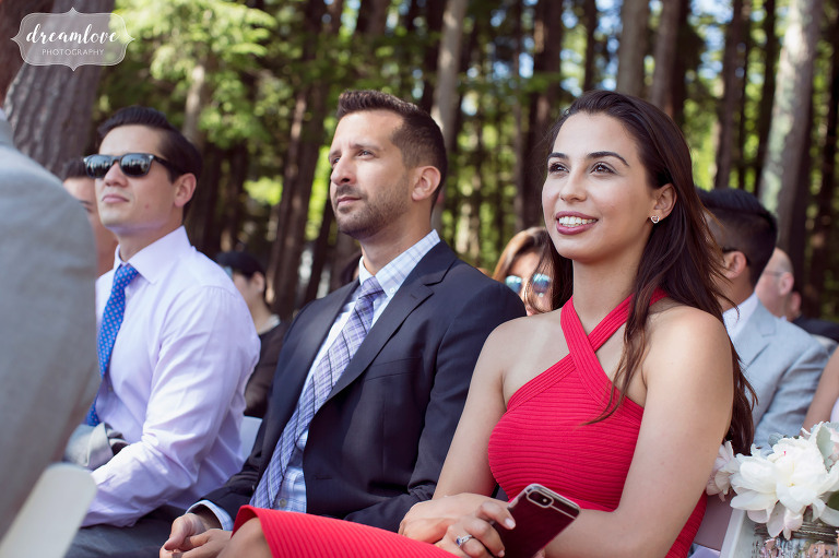 Wedding guests watch the ceremony in Wolfeboro.
