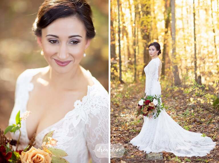 Bride wearing open back Lazaro bridal gown in the woods at Zukas Barn.