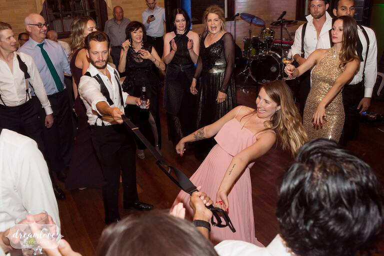 Guests do the limbo at the Linden Place.