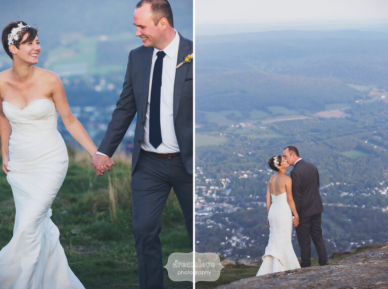 Bride and groom with scenic mountains at Berkshire wedding in MA.