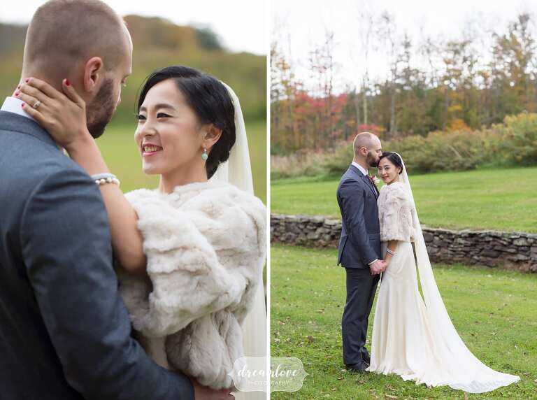 The bride wears a fur stole for this fall wedding in the Catskills.